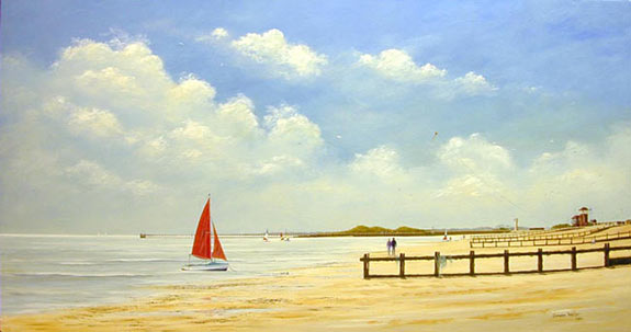 acrylic painting lesson, beach and sea
