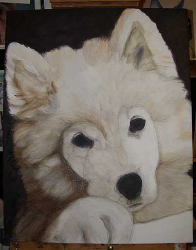 painting a dog in acrylics