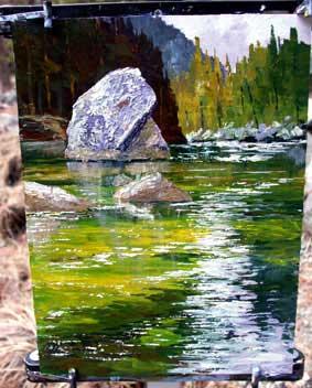 reflexão da água, a lição de acrílico, de demonstração de arte