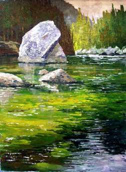 pleine acrílico ar, pintura, demo paisagem