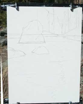 rio cena, Yosemite, pintura, merced acrílico, demo, lição de arte livre