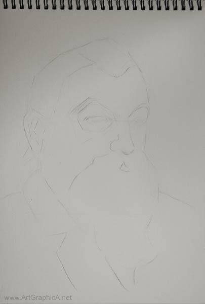 portrait drawing, beginning