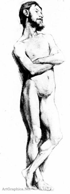male nude, students learning to draw