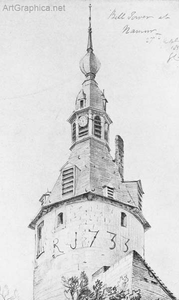 bell tower, drawing in perspective