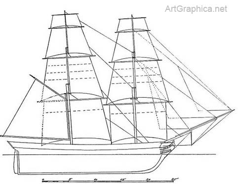 ship drawn in perspective