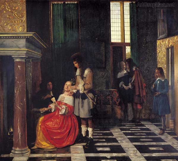 a dutch interior, perspective art painting