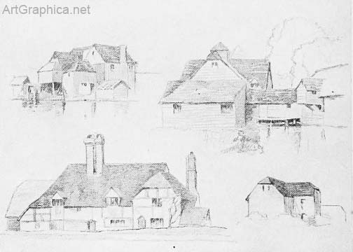 houses drawn in perspective, perspective art