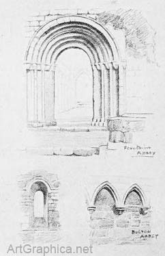 arches drawn in perspective