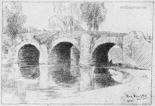 bridge drawn in perspective, drawing arches in perspective