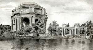 san francisco - palace of fine arts - pen and ink with ink washes