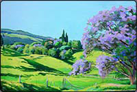 acrylic tree painting lesson, jacaranda trees