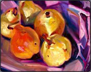 oil painting instruction, pears
