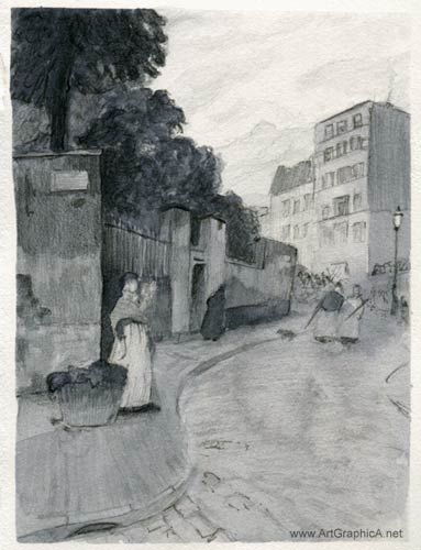 rue montmartre sketch, childe hassam