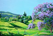 acrylic demo, painting in acrylics, jacaranda tree
