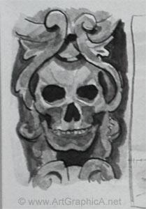 thumb sketch, skull