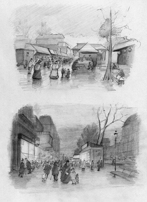 ballpoint pen sketch, paris