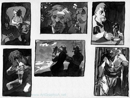sketches from famous paintings,  thumbnail art