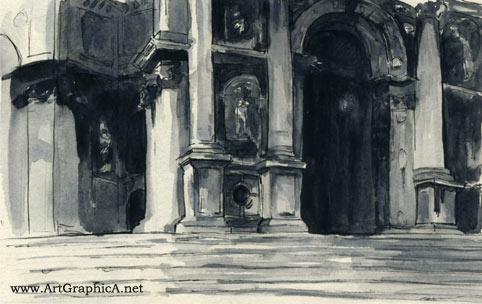 John Singer Sargent, Venice architecture, watercolor