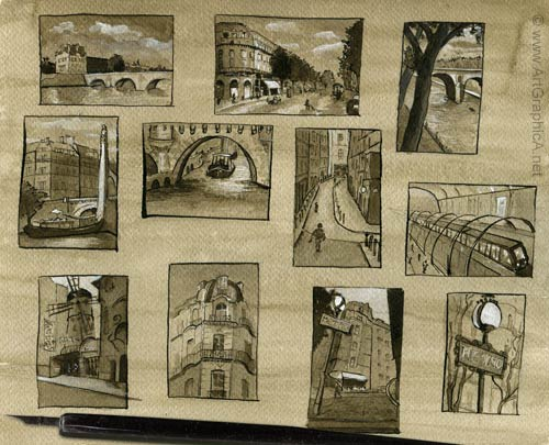 thumbnail art, sketches, paris