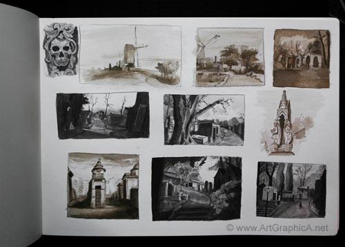 thumbnail sketching, pen and ink