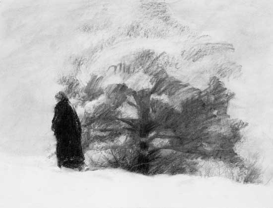 figure and tree with snow
