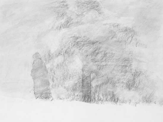 figure and tree, winter scene in charcoal