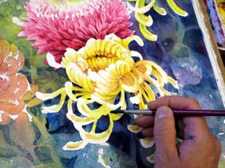 painting background details, painting flowers demo, watercolor flower lesson, blending watercolor, free watercolor demo