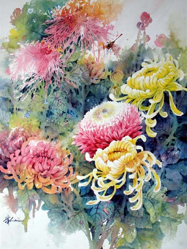 chinese flowers painting lesson