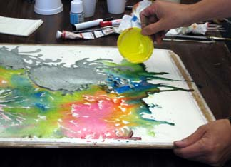 pouring liquid color