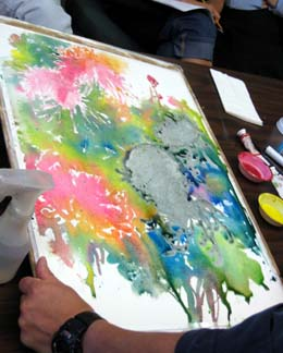 pouring paint, blending watercolor