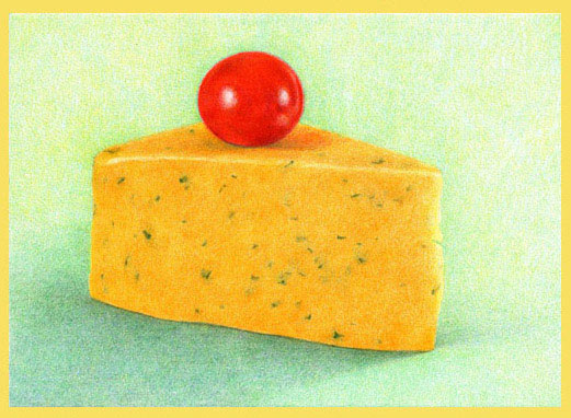 color pencil demo, Cotswald Cheese