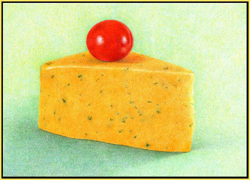 cheese and tomato, color pencil