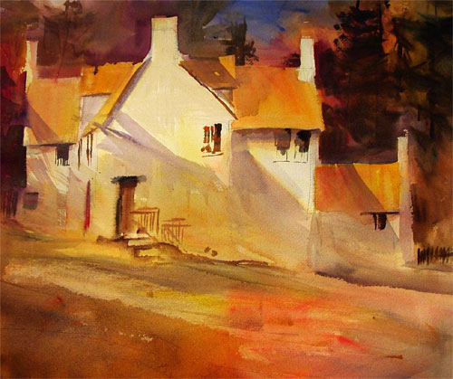 watercolour painting, orange wood cottage