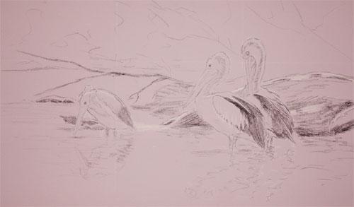 pássaros, desenho pastel