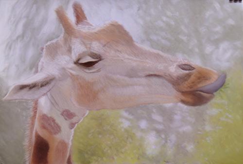 girafa, pintura pastel