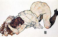 Kneeling Girl Propped on Her Elbows by Egon Schiele