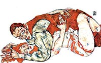 Love Act Study by Egon Schiele