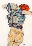 Woman Undressing by Egon Schiele