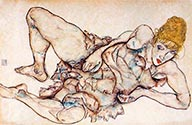 Recllining Woman with Blond Hair by Egon Schiele