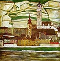 Stein on the Danube with Terraced Vineyards by Egon Schiele