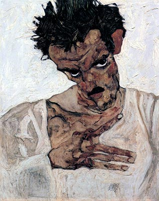 Self-Portrait with Lowered Head, 1912 by Egon Schiele</div>