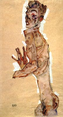 Nude Self-Portrait by Egon Schiele</div>