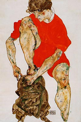 Female Model in Red by Egon Schiele</div>