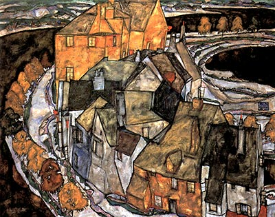 The House-Bend (aka Island City), 1915 by Egon Schiele</div>