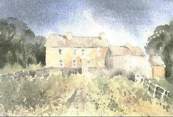 welsh farm house, watercolour painting, art