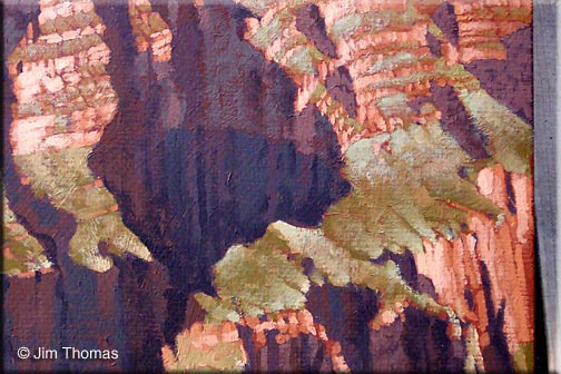 grand canyon painting - close up details