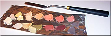 mixing oil paint, palette, colors