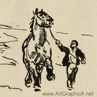 horse being led, horse art