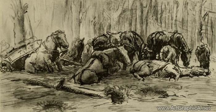 horse art, the somme, war horses, 1916, dead beat