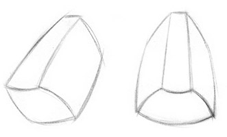 grandes planos do nariz, modelando o nariz, desenhando o nariz